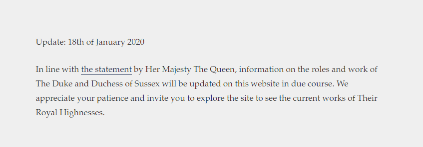 The SussexRoyal website was swiftly updated after Buckingham Palace's announcement