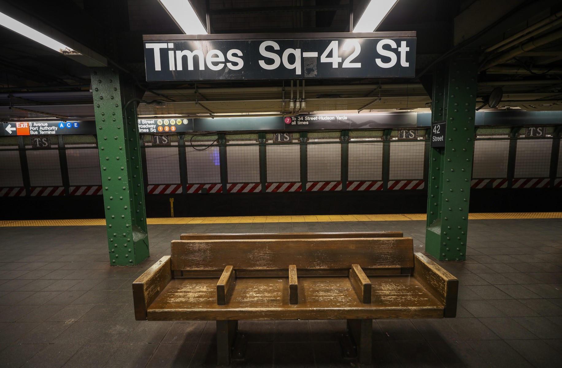A Times Square subway station is empty