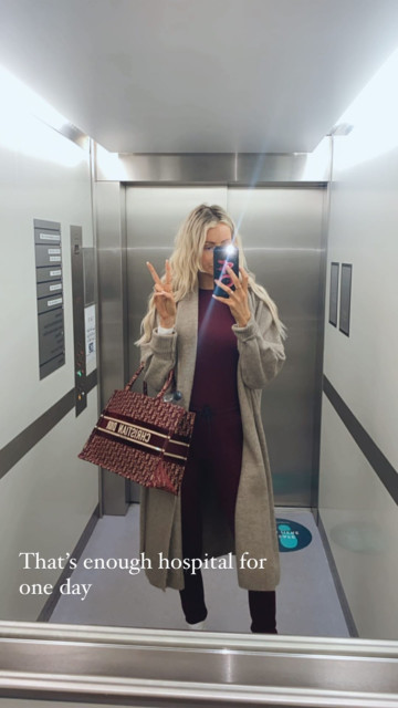 Olivia posted a picture of her leaving hospital